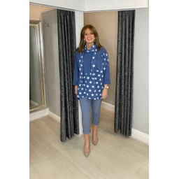 Lucy Cobb Poppie Polka Dot Top in Denim Blue