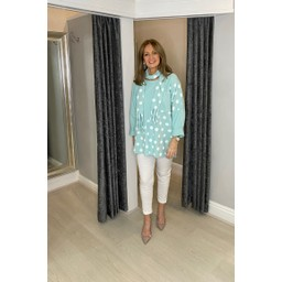 Lucy Cobb Poppie Polka Dot Top in Mint