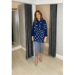 Lucy Cobb Poppie Polka Dot Top in Navy