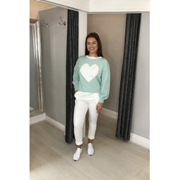 Lucy Cobb Cupid Heart Jumper in Mint