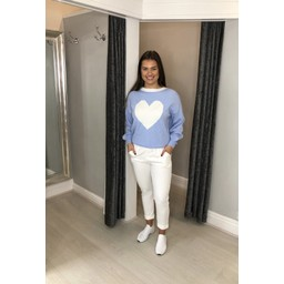 Lucy Cobb Cupid Heart Jumper in Pale Blue (611)