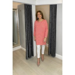 Lucy Cobb Sami Striped Tunic in Coral