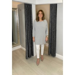 Lucy Cobb Sami Striped Tunic in Marl Grey