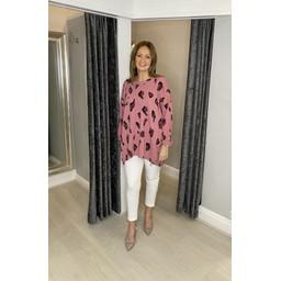 Lucy Cobb Laurie Leopard Zip Sweatshirt in Rose