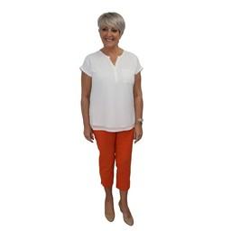 Robell Trousers Rose 07 Capri Trousers in Orange