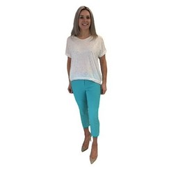 Robell Trousers Rose 07 Capri Trousers - Aqua Green