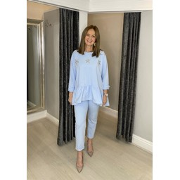 Lucy Cobb Dora Diamante Star Tracksuit  in Baby Blue