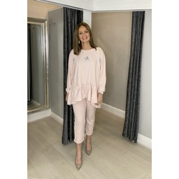 Lucy Cobb Dora Diamante Star Tracksuit  in Baby Pink