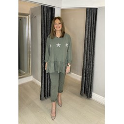 Lucy Cobb Dora Diamante Star Tracksuit  in Khaki