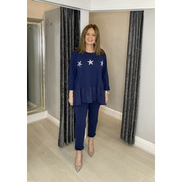 Lucy Cobb Dora Diamante Star Tracksuit  in Navy