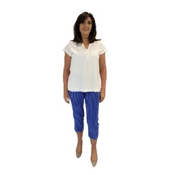 Robell Trousers Marie 07 Pinstripe Capri Trousers - Royal