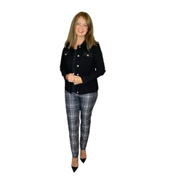 Robell Trousers Bella Tartan Print Trousers - Charcoal