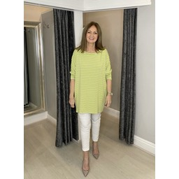 Lucy Cobb Sami Striped Tunic in Lime Green