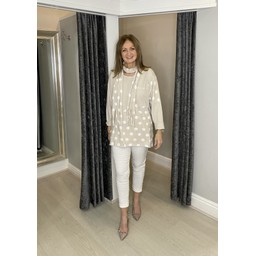 Lucy Cobb Poppie Polka Dot Top in Stone