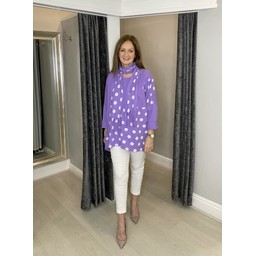 Lucy Cobb Poppie Polka Dot Top in Purple