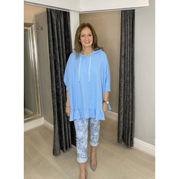 Lucy Cobb Faith Cotton Frill Hem Hoodie in Baby Blue