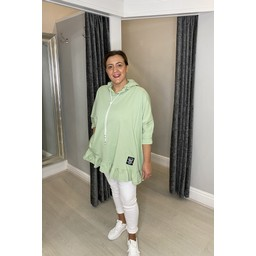 Lucy Cobb Faith Cotton Frill Hem Hoodie - Soft Green
