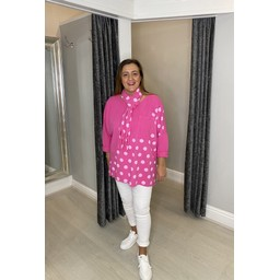 Lucy Cobb Poppie Polka Dot Top in Fuchsia