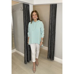 Lucy Cobb Riley Striped Hoodie in Mint