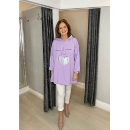 Lucy Cobb Be Kind Oversized Hoodie - Lilac