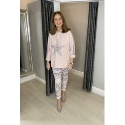 Lucy Cobb Leia Sequin Star Hoodie in Baby Pink