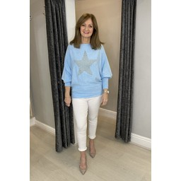 Lucy Cobb Erin Stud Star Jumper in Baby Blue