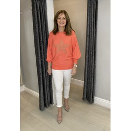 Lucy Cobb Erin Stud Star Jumper in Coral