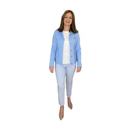 Robell Trousers Rose 09 Diamond Check Trousers - Pale Blue
