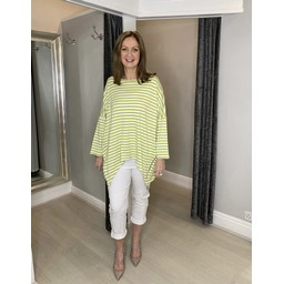 Lucy Cobb Sami Striped Zip Top - Lime Green