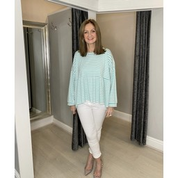 Lucy Cobb Prim Peplum Stripe Top in Mint