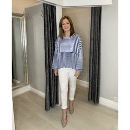 Lucy Cobb Prim Peplum Stripe Top in Denim Blue