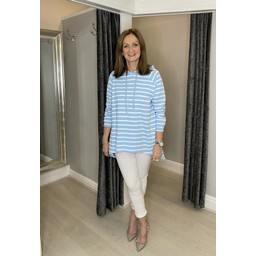 Lucy Cobb Riley Striped Hoodie - Pale Blue