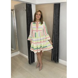 Lucy Cobb Aztec Tiered dress in Neon Multi