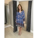 Orchid V Neck Tunic - Blue