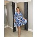 Lola Leopard Smock Dress  - Baby Blue