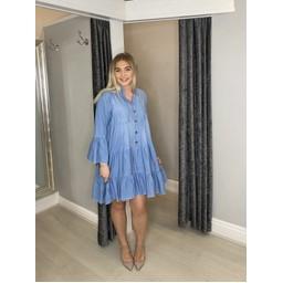 Lucy Cobb Dakota Denim Tiered Smock Dress  in Light Denim Blue