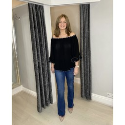 Lucy Cobb Blair Bardot Frill Top in Black