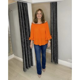 Lucy Cobb Blair Bardot Frill Top in Orange