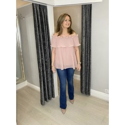 Lucy Cobb Bonnie Bardot Frill Top in Blush Pink