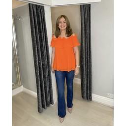 Lucy Cobb Bonnie Bardot Frill Top in Orange