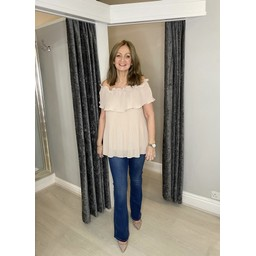 Lucy Cobb Bonnie Bardot Frill Top in Stone