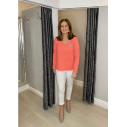 Lucy Cobb Luna Star Long sleeve Tee in Coral
