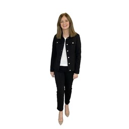 Robell Trousers Seersucker Happy Jacket in Black