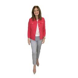 Robell Trousers Seersucker Happy Jacket in Red