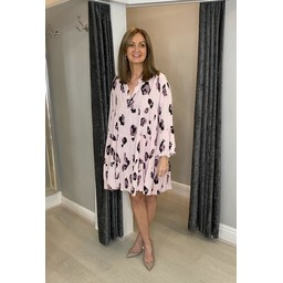 Lucy Cobb Lydia Leopard Smock Dress in Pink