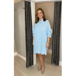 Lucy Cobb Reagan Ruffle Sleeve Shirt Dress in Pale Blue