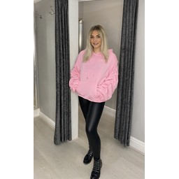 Lucy Cobb Ruched Sleeve Hoodie in Bubblegum Pink