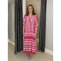 Lucy Cobb Carmen Maxi dress in Fuchsia Aztec