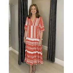 Lucy Cobb Carmen Maxi dress in Orange Aztec