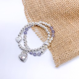 Lucy Cobb Jewellery Heidi Heart Bracelet in Silver